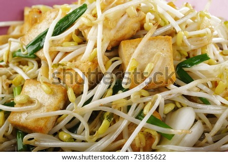 fried tofu with bean sprout