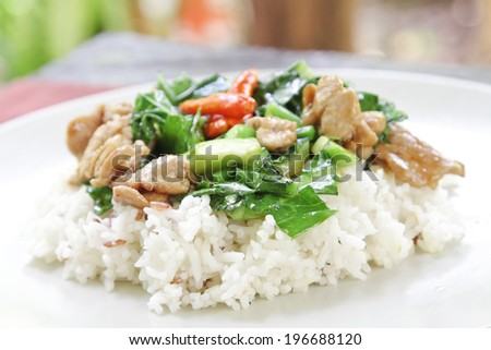 Fried Vegetables with pork on rice. - stock photo