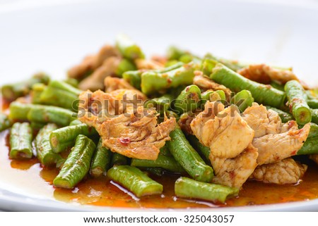 fried Yard Long bean with red curry paste and pork