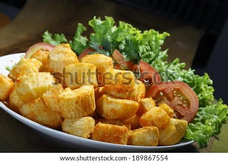 fried yucca - stock photo