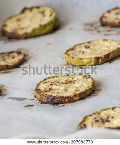 Fried zucchini (eggplant)  - stock photo