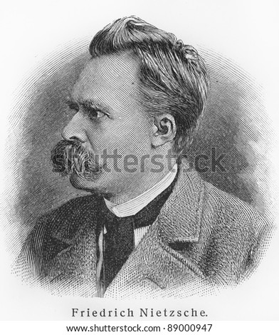 Friedrich Nietzsche - Picture from Meyers Lexicon books written in German language. Collection of 21 volumes published  between 1905 and 1909. - stock photo