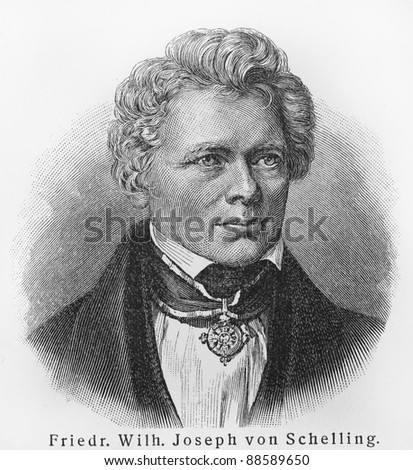 Friedrich Wilhelm Joseph Schelling - Picture from Meyers Lexicon books written in German language. Collection of 21 volumes published  between 1905 and 1909.