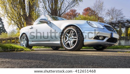 FRIEDRICHSHAFEN, GERMANY - APRIL 20, 2016: Mercedes-Benz SLK Cabrio in sunny day