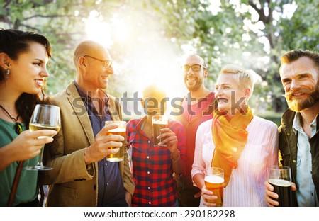 Friend Celebrate Party Picnic Joyful Lifestyle Drinking Concept - stock photo