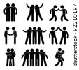 Friend Friendship Relationship Teammate Teamwork Society Icon Sign Symbol Pictogram - stock vector