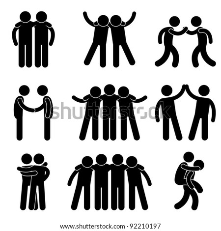 Friend Friendship Relationship Teammate Teamwork Society Icon Sign Symbol Pictogram - stock photo
