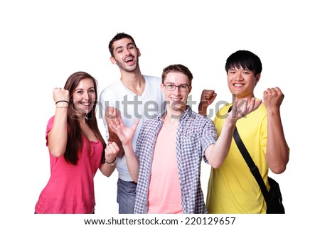Friend group of happy excited students isolated over a white background,  caucasian and asian