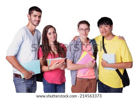 Friend group of happy students isolated over a white background,  caucasian and asian