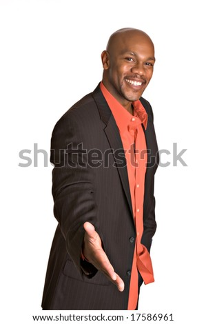 Friendly African-American man extends his hand for a handshake