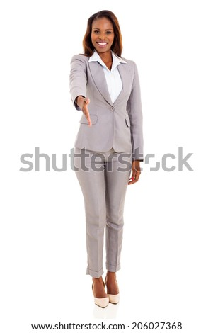 friendly african businesswoman handshake isolated on white - stock photo
