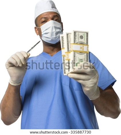 Friendly African surgeon in uniform holding money - Isolated - stock photo
