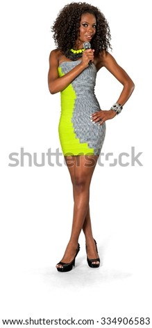 Friendly African woman with medium dark brown hair in business casual outfit using microphone - Isolated