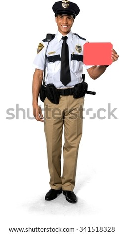Friendly African young man with short black hair in uniform holding medium sign - Isolated
