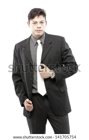 Friendly and smiling businessman looking at camera with reliability isolated on white background