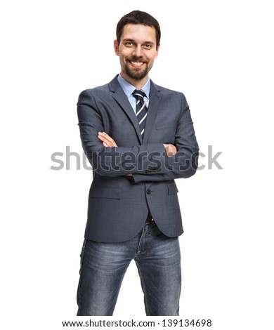 Friendly and smiling businessman with arms crossed isolated on white background   - stock photo