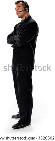 Friendly Asian man with short black hair in business formal outfit using headset - Isolated