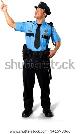 Friendly Asian man with short black hair in uniform holding prop - Isolated