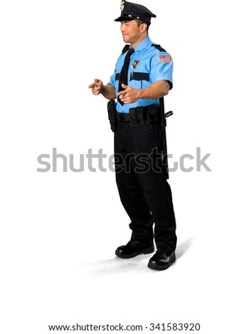 Friendly Asian man with short black hair in uniform makes finger gun - Isolated