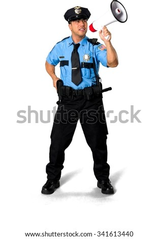 Friendly Asian man with short black hair in uniform using handgun - Isolated - stock photo