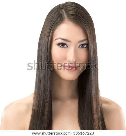 Friendly Asian young woman with long medium brown hair - Isolated