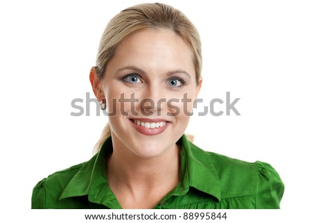 Friendly attractive woman portrait isolated on a white background - stock photo