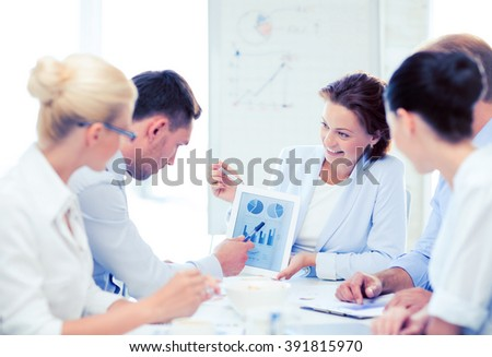 friendly business team discussing graphs in office