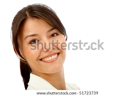 Friendly business woman portrait smiling over a white background