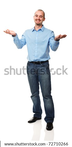 friendly businessman open arms isolated on white background - stock photo