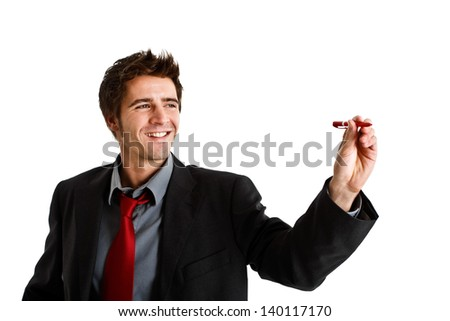 Friendly businessman writing on the screen. You can place your own text - stock photo