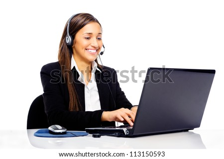 Friendly call center secretary consultant woman with headset telephone and pretty smile