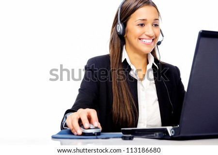 Friendly call center secretary consultant woman with headset telephone and pretty smile - stock photo