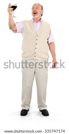 Friendly Caucasian elderly man with short grey hair in casual outfit holding wine glass - Isolated - stock photo
