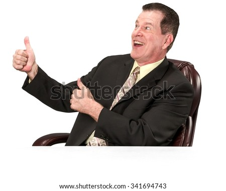 Friendly Caucasian elderly man with short medium brown hair in business formal outfit cheering - Isolated