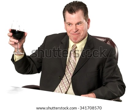 Friendly Caucasian elderly man with short medium brown hair in business formal outfit holding office chair - Isolated