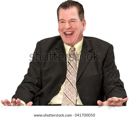 Friendly Caucasian elderly man with short medium brown hair in business formal outfit laughing - Isolated