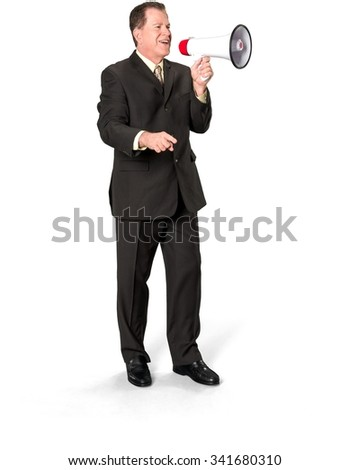 Friendly Caucasian elderly man with short medium brown hair in business formal outfit using megaphone - Isolated