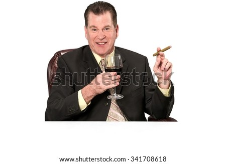 Friendly Caucasian elderly man with short medium brown hair in business formal outfit using office chair - Isolated