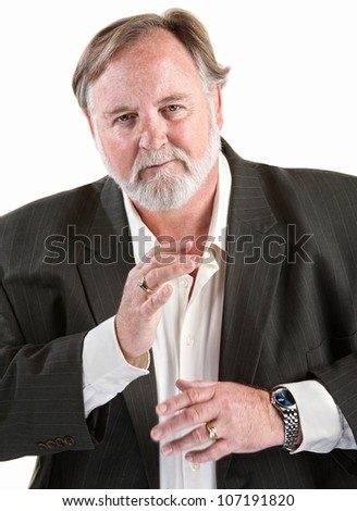 Friendly caucasian man gestures with his hands over white background - stock photo