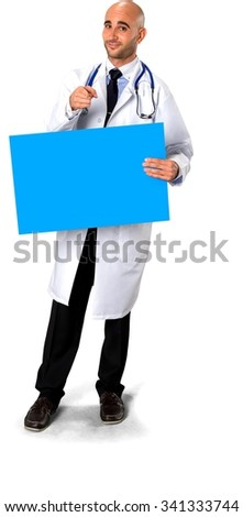 Friendly Caucasian man in uniform holding large sign - Isolated - stock photo