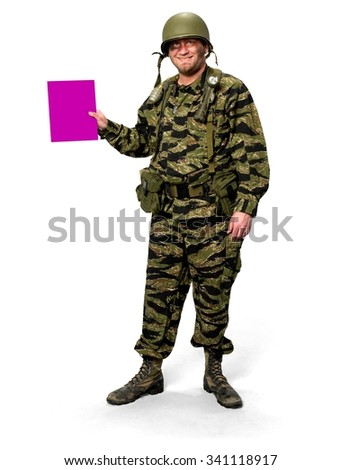 Friendly Caucasian man in uniform holding medium sign - Isolated