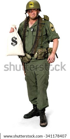 Friendly Caucasian man in uniform holding money bag - Isolated