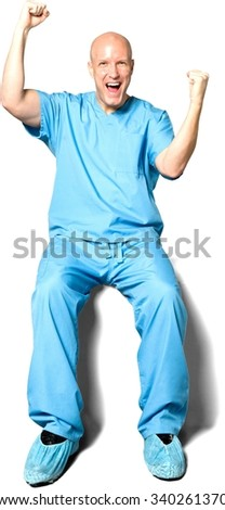 Friendly Caucasian man in uniform with arms open - Isolated - stock photo
