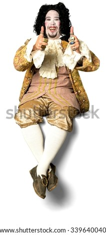 Friendly Caucasian man with medium black hair in costume cheering - Isolated - stock photo