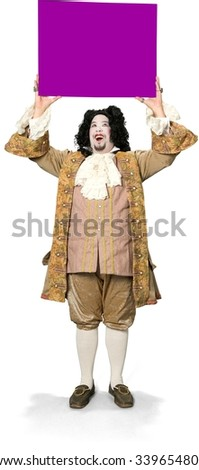 Friendly Caucasian man with medium black hair in costume holding large sign - Isolated - stock photo