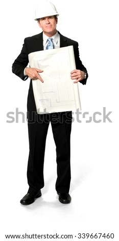 Friendly Caucasian man with short black hair in business formal outfit holding blueprints - Isolated - stock photo