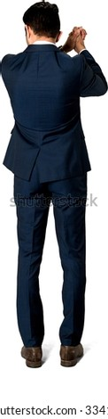 Friendly Caucasian man with short dark brown hair in business formal outfit celebrating - Isolated