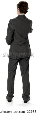 Friendly Caucasian man with short dark brown hair in business formal outfit offering handshake - Isolated