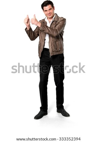 Friendly Caucasian man with short dark brown hair in casual outfit cheering - Isolated - stock photo