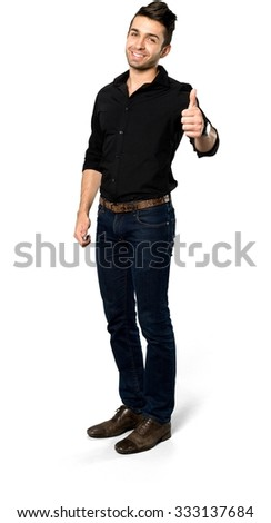 Friendly Caucasian man with short dark brown hair in casual outfit giving thumbs up - Isolated